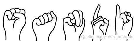 Sandi im Fingeralphabet der Deutschen Gebärdensprache