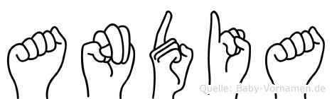 Andia im Fingeralphabet der Deutschen Gebärdensprache
