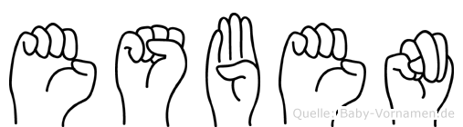 Esben im Fingeralphabet der Deutschen Gebärdensprache