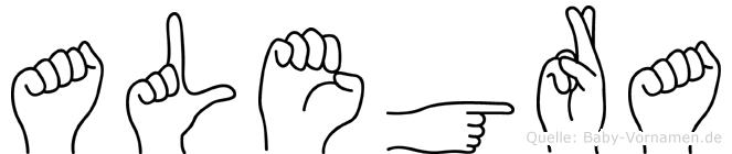 Alegra im Fingeralphabet der Deutschen Gebärdensprache