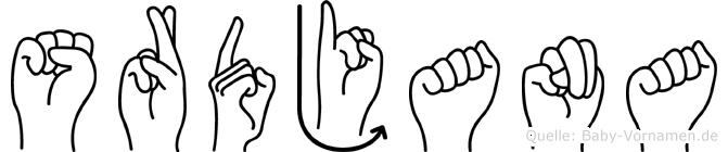 Srdjana im Fingeralphabet der Deutschen Gebärdensprache