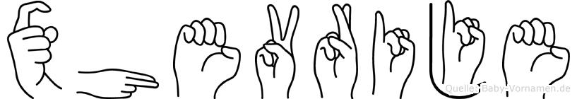 Xhevrije im Fingeralphabet der Deutschen Gebärdensprache