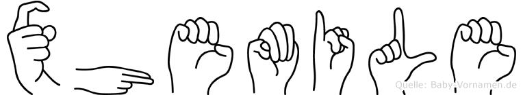 Xhemile im Fingeralphabet der Deutschen Gebärdensprache