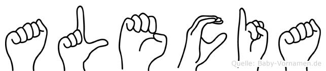 Alecia im Fingeralphabet der Deutschen Gebärdensprache