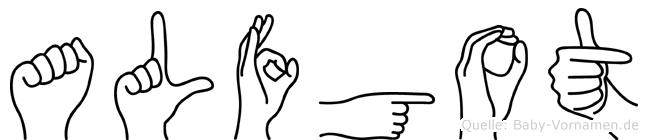 Alfgot im Fingeralphabet der Deutschen Gebärdensprache