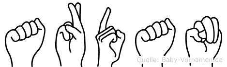 Ardan in Fingersprache für Gehörlose