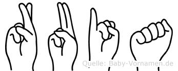 Ruia in Fingersprache für Gehörlose