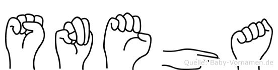 Sneha im Fingeralphabet der Deutschen Gebärdensprache