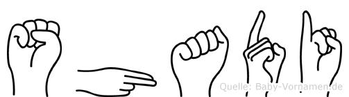 Shadi im Fingeralphabet der Deutschen Gebärdensprache