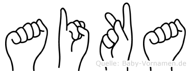 Aika im Fingeralphabet der Deutschen Gebärdensprache