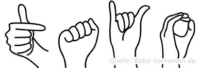 Tayo im Fingeralphabet der Deutschen Gebärdensprache