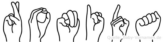 Ronida im Fingeralphabet der Deutschen Gebärdensprache