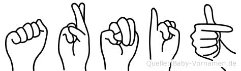 Arnit im Fingeralphabet der Deutschen Gebärdensprache