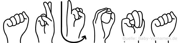 Arjona im Fingeralphabet der Deutschen Gebärdensprache