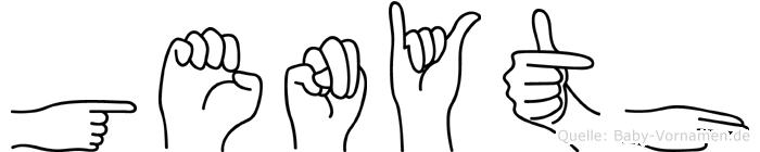 Genyth im Fingeralphabet der Deutschen Gebärdensprache