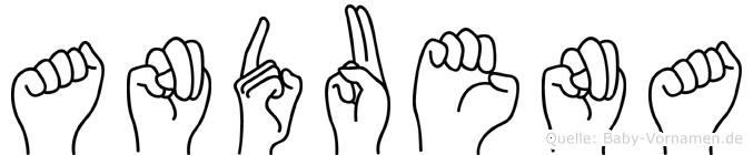 Anduena im Fingeralphabet der Deutschen Gebärdensprache