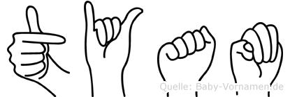 Tyam im Fingeralphabet der Deutschen Gebärdensprache
