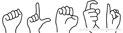 Alexi im Fingeralphabet der Deutschen Gebärdensprache