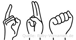Dua im Fingeralphabet der Deutschen Gebärdensprache