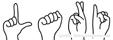 Lari im Fingeralphabet der Deutschen Gebärdensprache