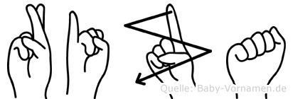 Riza im Fingeralphabet der Deutschen Gebärdensprache
