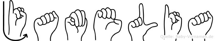 Jamelia im Fingeralphabet der Deutschen Gebärdensprache