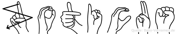 Zoticus im Fingeralphabet der Deutschen Gebärdensprache
