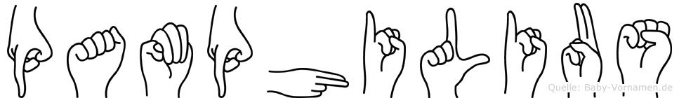 Pamphilius im Fingeralphabet der Deutschen Gebärdensprache