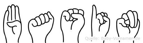 Basin im Fingeralphabet der Deutschen Gebärdensprache