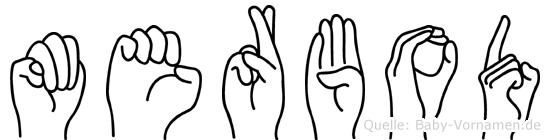 Merbod im Fingeralphabet der Deutschen Gebärdensprache