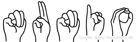 Nunio in Fingersprache für Gehörlose