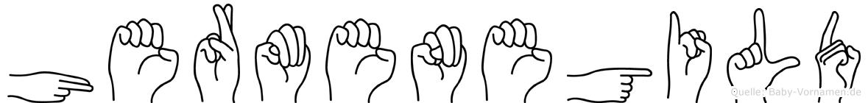 Hermenegild im Fingeralphabet der Deutschen Gebärdensprache