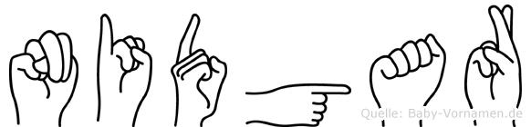 Nidgar im Fingeralphabet der Deutschen Gebärdensprache