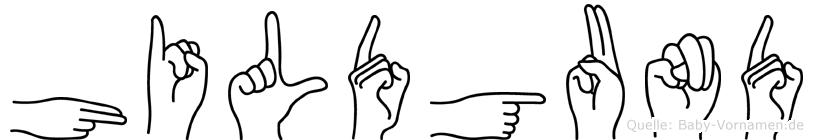 Hildgund im Fingeralphabet der Deutschen Gebärdensprache