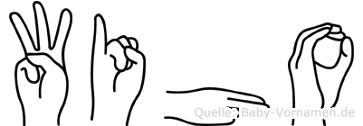 Wiho im Fingeralphabet der Deutschen Gebärdensprache