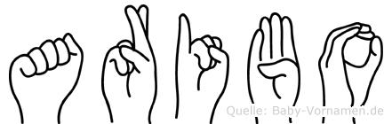 Aribo im Fingeralphabet der Deutschen Gebärdensprache