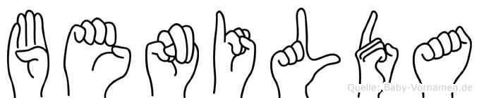 Benilda im Fingeralphabet der Deutschen Gebärdensprache