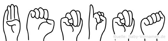 Benina im Fingeralphabet der Deutschen Gebärdensprache