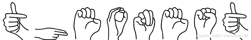 Theonest im Fingeralphabet der Deutschen Gebärdensprache