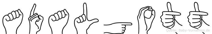 Adalgott im Fingeralphabet der Deutschen Gebärdensprache