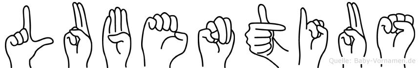 Lubentius im Fingeralphabet der Deutschen Gebärdensprache