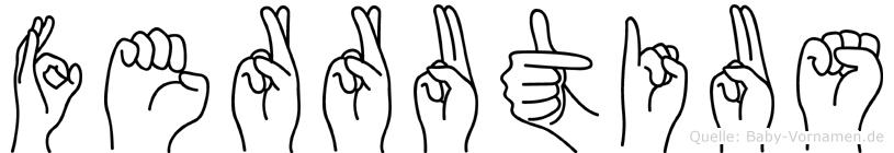 Ferrutius im Fingeralphabet der Deutschen Gebärdensprache