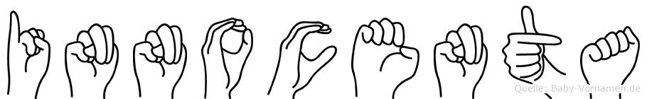 Innocenta im Fingeralphabet der Deutschen Gebärdensprache