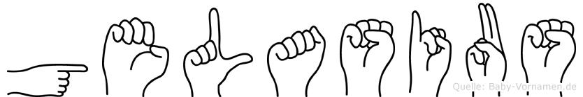 Gelasius im Fingeralphabet der Deutschen Gebärdensprache