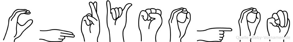 Chrysogon im Fingeralphabet der Deutschen Gebärdensprache