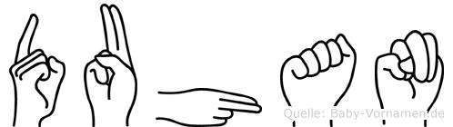 Duhan im Fingeralphabet der Deutschen Gebärdensprache