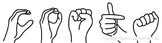 Costa im Fingeralphabet der Deutschen Gebärdensprache