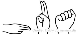 Hua im Fingeralphabet der Deutschen Gebärdensprache