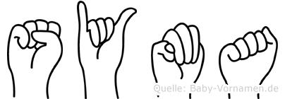 Syma im Fingeralphabet der Deutschen Gebärdensprache