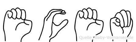 Ecem im Fingeralphabet der Deutschen Gebärdensprache